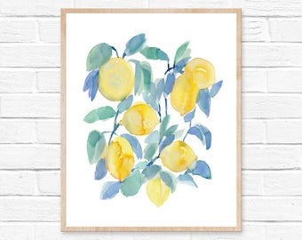 lemons watercolor print abstract lemon print lemon watercolor kitchen art kitchen decor yellow - Kitchen Art