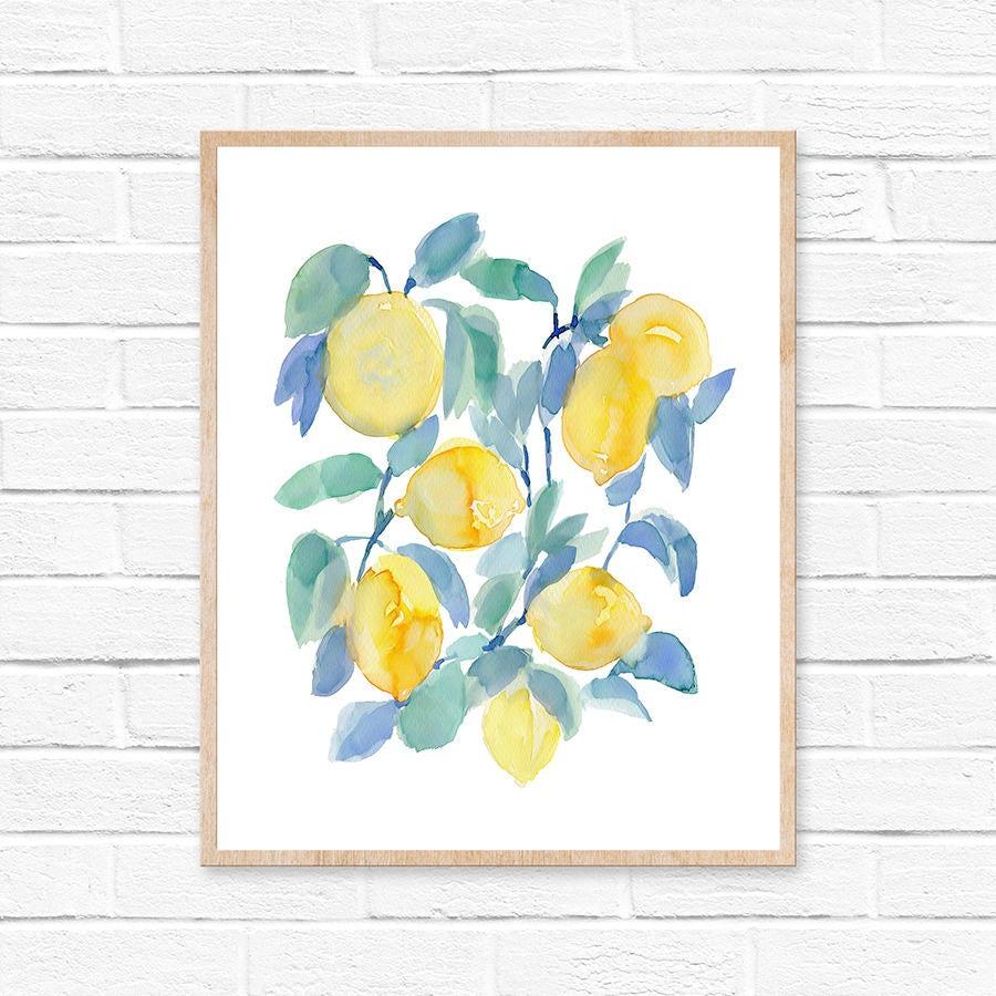 Lemons Watercolor Print, Abstract Lemon Print, Lemon Watercolor ...