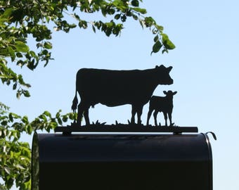 Standing Cow and Calf Metal Mailbox Topper, Cow Mailbox, Farm Mailbox Top, Cattle Mailbox, Ranch Mailbox Top, Cows Mailbox Top