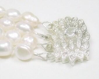 Four Strand Pearl Bracelet, Vintage Rhinestone Clasp, Freshwater Pearls, Bridal, Wedding, Pearl Jewelry, Natural Pearls, June Birthstone