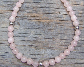Rose Quartz Ankle Bracelet With Charm of Your Choice