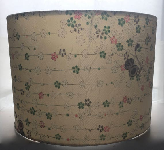 Japanese Cream Floral Silk Lamp Shade Made from Vintage Kimono Silk 2 Sizes Available 30cm (12 inch) 20cm (8 inch)