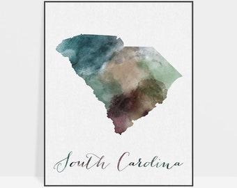 South Carolina map, print, South Carolina poster, Wall art, travel poster, USA state print, home decor, watercolor print, ArtPrintsVicky.