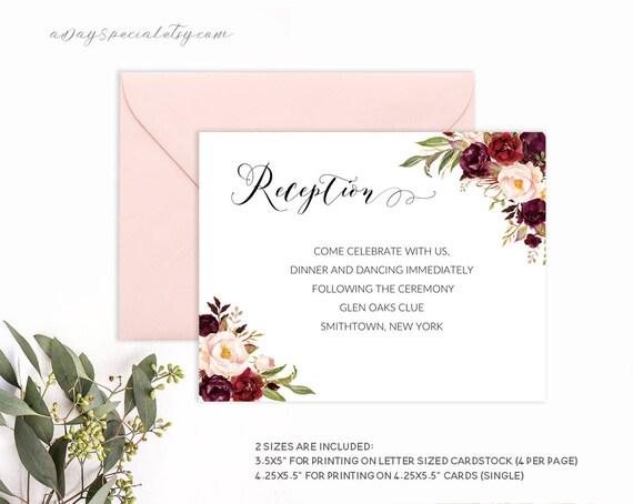 Burgundy Floral Wedding Reception Card Template Printable