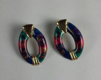 Oval Pierced Earrings, Green Indigo Blue Rose Red Enamel Stud Earrings,  Gold Accents