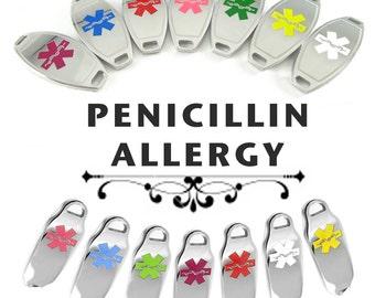 PENICILLIN ALLERGY Alert ID plate Pre-Engraved, for Stylish Beaded Bracelets