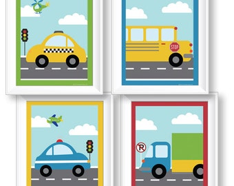 "Things That Go Vroom! Theme Kids Set of FOUR 8x10"" Wall Art Prints Cars Trucks Transportation Baby/Nursery Room Decor by PICKLEBERRY KIDS"