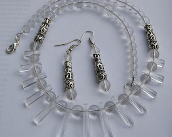 Jewelry set inspired by the Necklace Nebula - Cleopatra necklace and earrings, clear glass beads, pewter accents