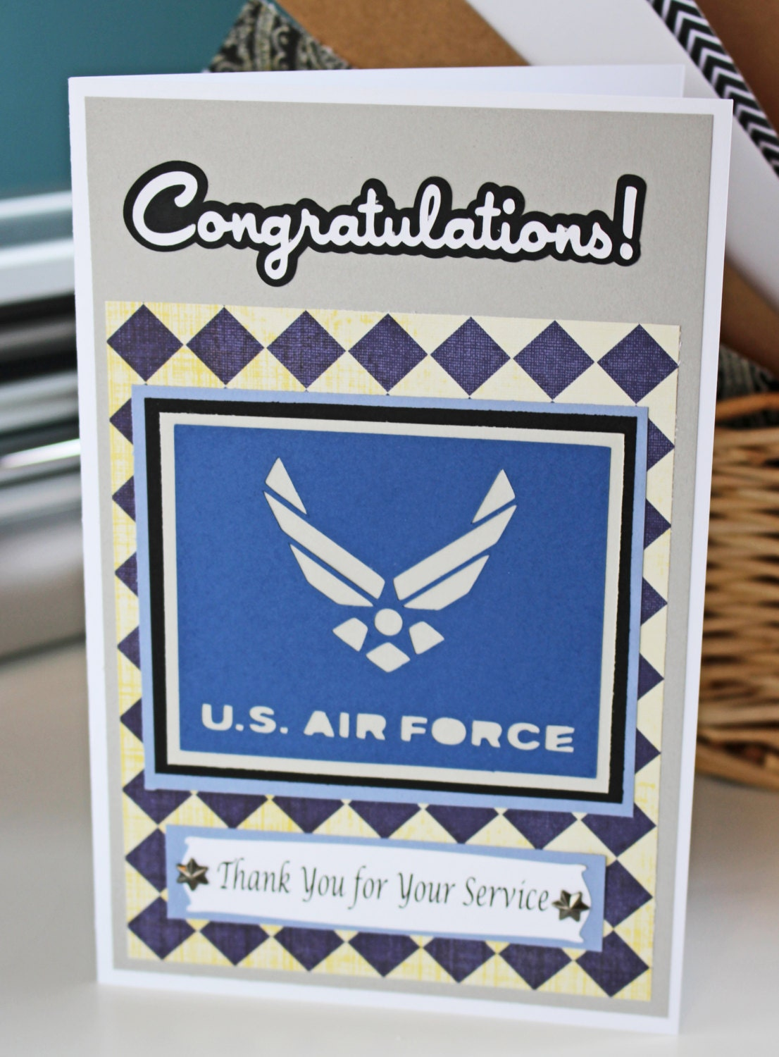 air force card retirement promotion graduation handmade card