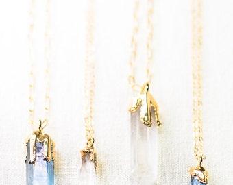 Hokupa'a necklace - gold quartz pendant necklace, gold strand necklace, quartz point necklace, crystal gold boho necklace, maui, hawaii