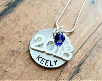 Class of 2018 Necklace, Hand Stamped, Personalized, 2018 Charm, Graduation, Graduation Jewelry, Senior Gift, Team, Birthday, High School