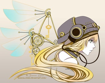"Feathers of Time Art Print - 8""x10"" or 11x14"" - original anime manga steampunk girl art - Bianca Loran Art"