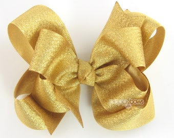 """Gold Hair Bow, 5"""" gold hair bow, girls hair bow, metallic hair bows, 5 inch gold, baby hair bow, big gold hair bow, large, double layer"""