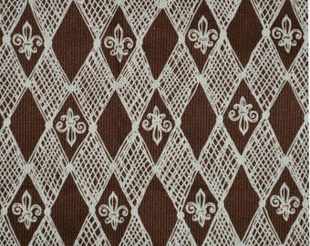 Novelty fabric French Fleur de lis brown fabric by the yard vintage fabric harlequin Karen Jarrar Marcus Brothers NOLA Saints