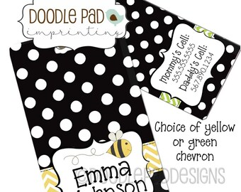 Black Diaper Bag Tag, Personalized Luggage Tag,  Kids Luggage tag