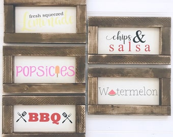 Foodie Themed Kitchen Framed Wood Signs