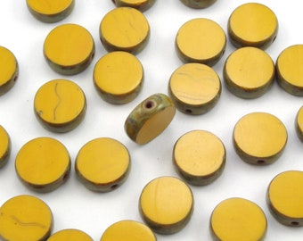 Mustard Yellow Picasso Table Cut Coin Czech Glass Beads 11mm - One Full Strand