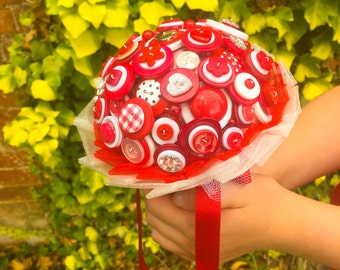 Wedding button bouquet - All Things Red