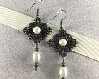 Pearl and Antique Silver Drop Earrings