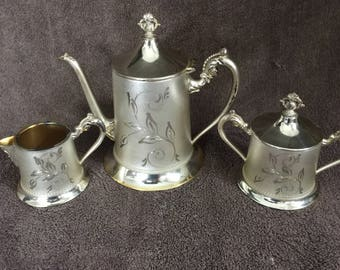 Sterling Silver 925 Puritan Silver Co Vintage Tea Set -  2  Lbs of Silver