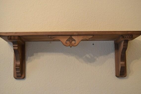 Repisa de madera r stica tallada - Baldas de madera ...