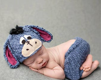 Handmade Cute donkey set costumes newborn baby cosplsy photography props, knitted baby outfit hats+pants