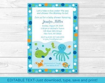 Under the Sea Baby Shower Invitation INSTANT DOWNLOAD Editable PDF A229
