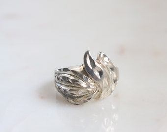 Sterling Silver Leaf Ring - Size 7.5