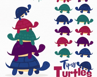 Professional Turtle Stack Clipart in Jewel - Turtle Clipart, Turtle Vectors, Jewel Turtles