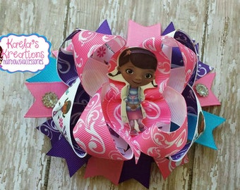 Doc Mcstuffins Hair Bow,  Doc Hair Bows,Doc Mcstuffins Birthday, Pink and Purple Doc Mcstuffin Hair Bow.