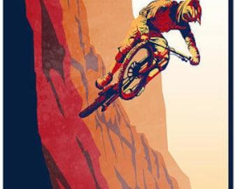 retro motivational mountain bike poster print 8X17