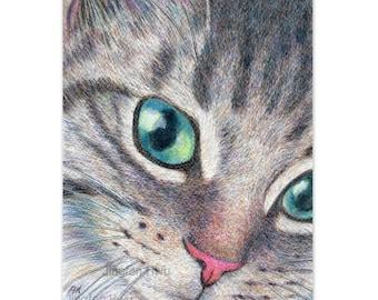 "cat art print of OOAK Original cat drawing  ""A Cute Tabby Cat"" grey striped cat, lover's gift,  watercolor pencil drawing, desk decoration"