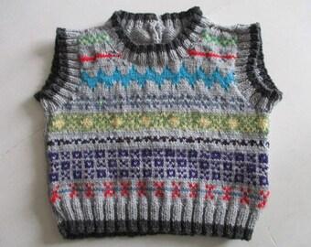 OOAK vest, fairisle knit, one of a kind knit, baby shower gift, present, unisex tank top, handmade sleeveless top, baby boy, girl, vest