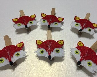 Mini Clothespins - 6 pcs - Cute Felt Foxes