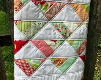 Baby Quilt, Tummy Time Quilt, Baby Girl Quilt, Pink, Aqua and Red Quilt