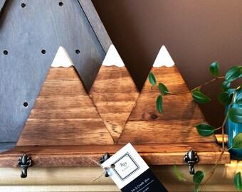 Wooden Mountain Key Hook & Shelf