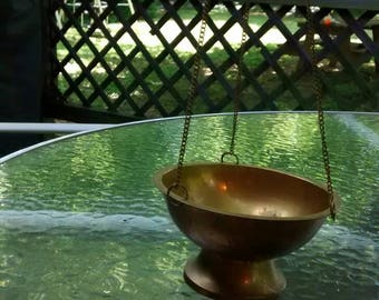 Brass planter hanging planter brass with chains succulent planter brass bowl hanging chains