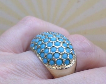 RING inlaid with blue rhinestones