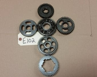 Steam Punk Sprockets Gears Wall Art Repurposed Salvage Motorcycle Parts Decor Industrial Metal
