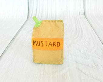 Realistic Toy Shopping Play Felt Mustard Sachet Pretend Food Waldorf Toy Kitchen Play Cookout Edu Toy Felt Play Food Pretend Party For Kids