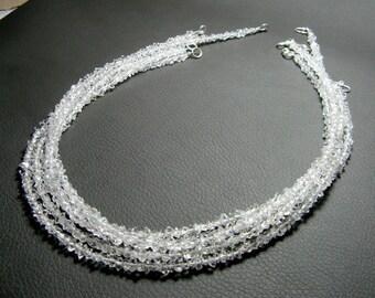 05 Pieces Beautiful Herkimer Diamond Quartz strands , Diamond Quartz, Clear Stones , Crystal, Beads, Strand, Jewelry 3*1mm , Size 16