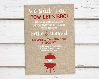 Printable I Do BBQ Invitation, Elopement Reception, Burlap, Outdoor, Barbecue, We Said I do, I do Me Too, Burlap, Rustic, White, MB195