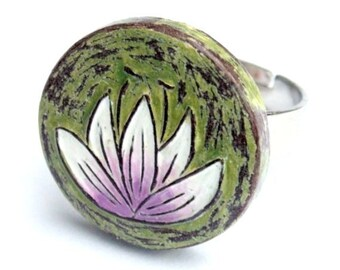 Lavender Lotus Ring, Waterlily Ring, Olive Green Ring, Gift for Mom, Anniversary Gift for Wife