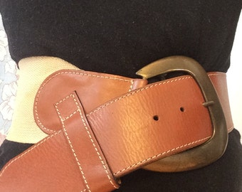 Brown Leather and Fabric Belt - BLOOMINGDALES