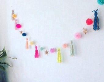 PomPom tassel garland, birthday garland, Parties, nursery decor, kids parties, weddings, baby showers, kids bedrooms.