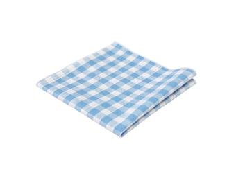 Aqua Blue Gingham Pocket Square.Aqua Plaid Cotton handkerchief.Wedding.Gifts.