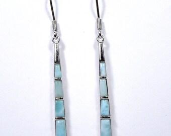 Long Rare Genuine AAA Dominican Larimar Inlay 925 Sterling Silver Dangle Earrings