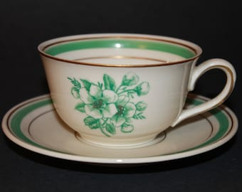 KPM Porcelain Teacup and Saucer Set.