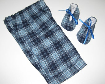 Upcycled Newborn Pants, Boys Baby Pants, Boys Flannel Pants, Boys Blue Shants with Matching Shoes