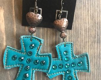 Turquoise, leather,  cross earrings, southwestern, western glam, rustic glam, boho, bohemian jewelry
